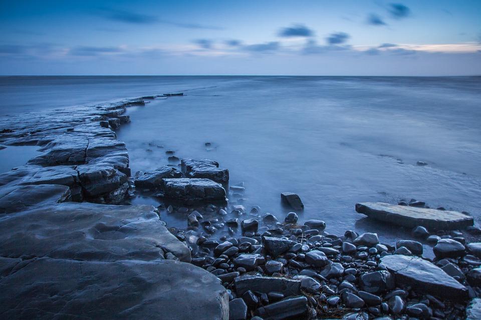 Kimmeridge Bay, Sea, Reefs, England