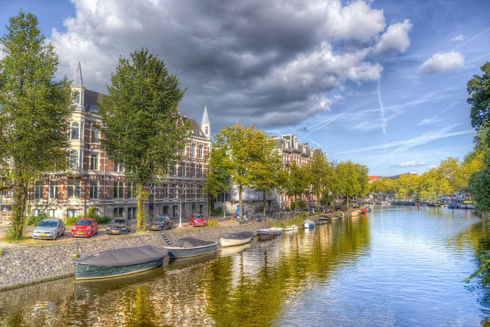 Amsterdam, Canal, Dutch, Water, Reflection, Trees