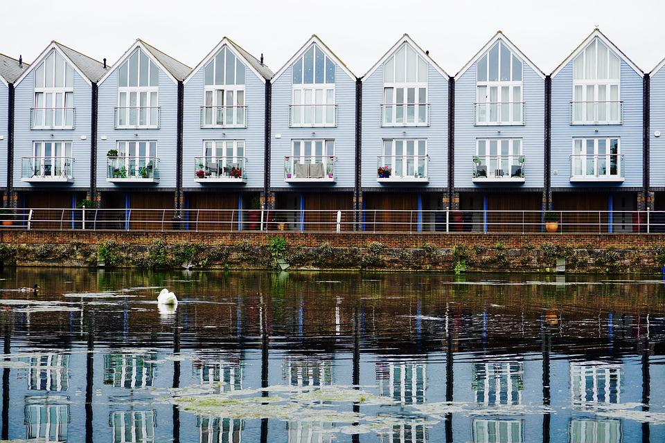 England, Water, Reflection, Homes, Row, Architecture