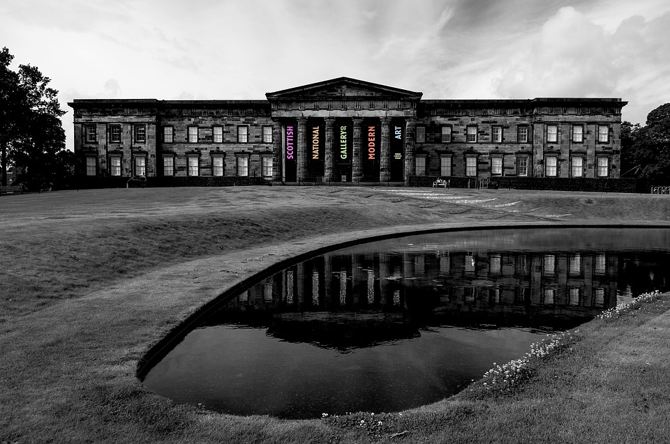 Scotland, Museum, Gallery, Black, White, Reflection