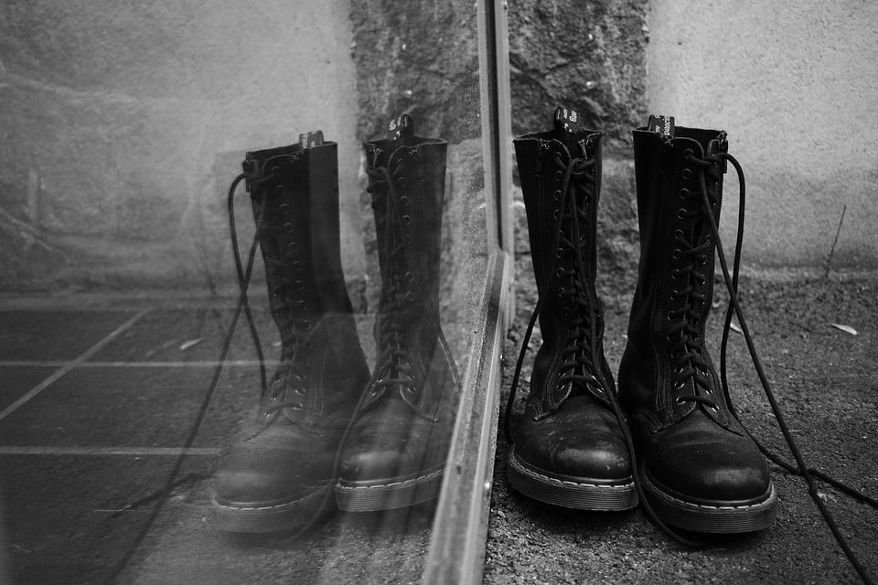 Shoes, Boots, Dr, Martens, Window, Reflection, Footwear