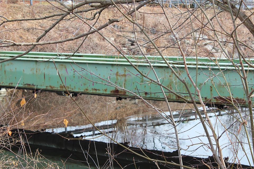 Bridge, Reflection, River, Green, Tree, Industrial
