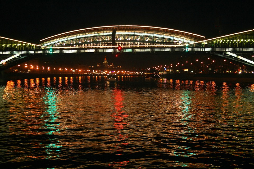 River, Water, Cruise, Bridge, Lights, White, Reflection