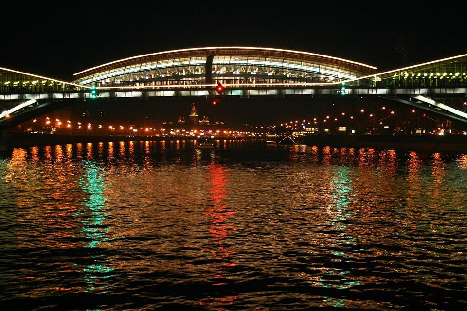 River, Water, Cruise, Bridge, Lights, White, Reflection