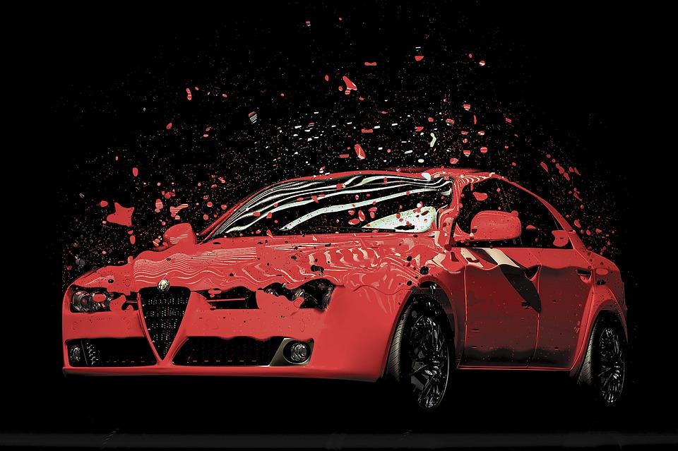 Car, Sports Car, Red, Alfa Romeo, Reflection, Realistic