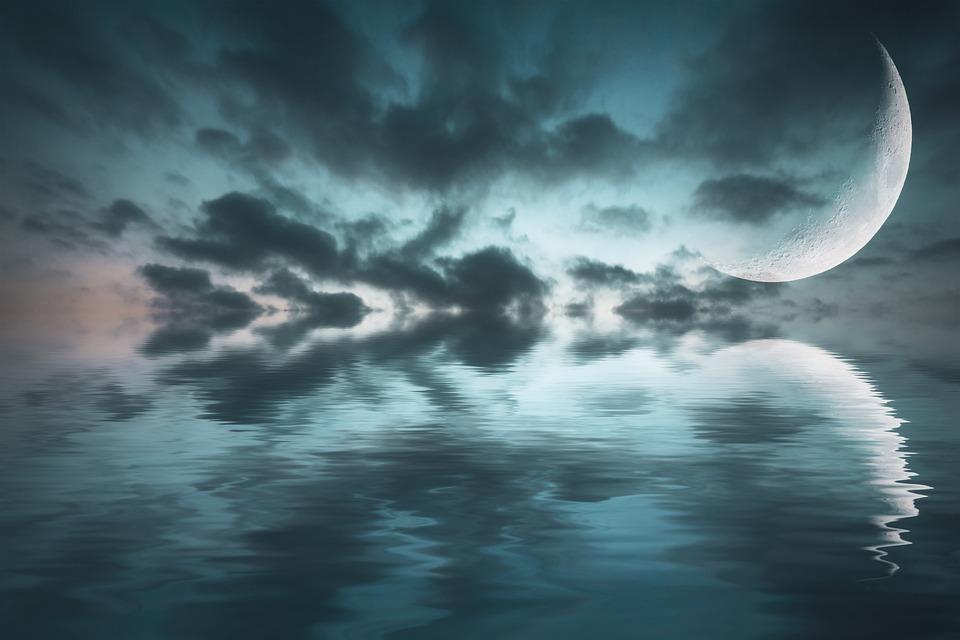 Fantasy, Sea, Moon, Reflection, Clouds, Sky, Night