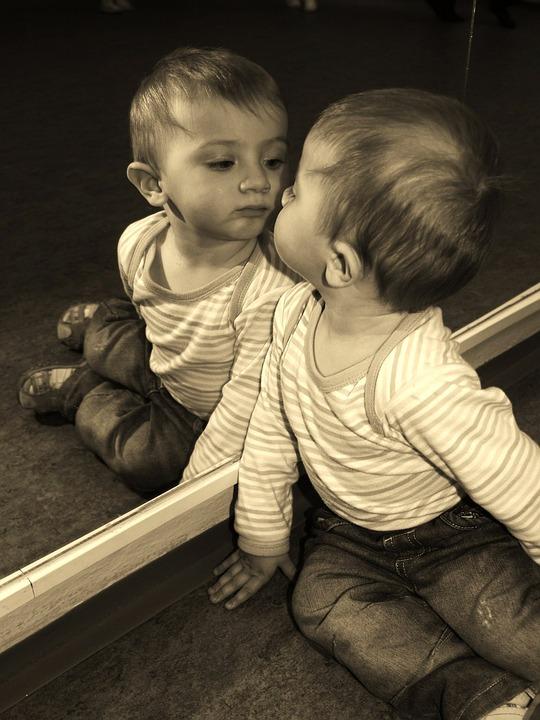 Child, Boy, Mirror, Reflection, Cognition
