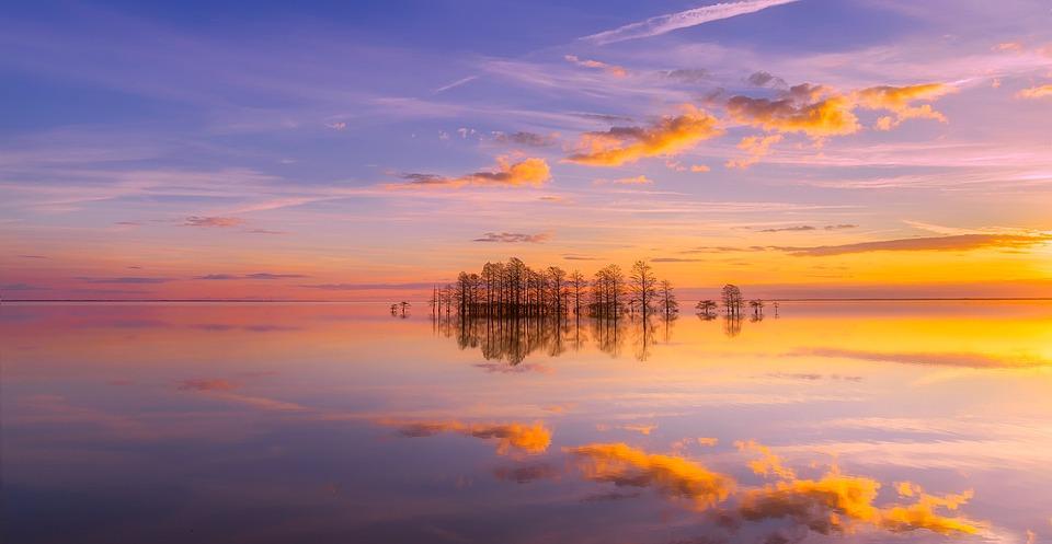 Lake, Trees, Reflection, Sunset, Dusk, Horizon, Sky