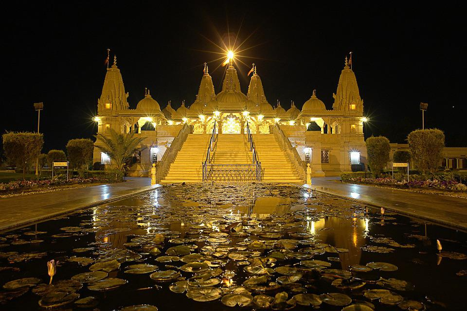 Temple, India, Sights, Night, Reflection, Tourism