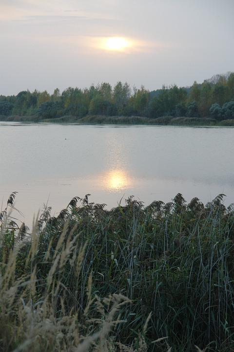 Autumn, Lake, Sunset, Grey, Reflection, Landscape