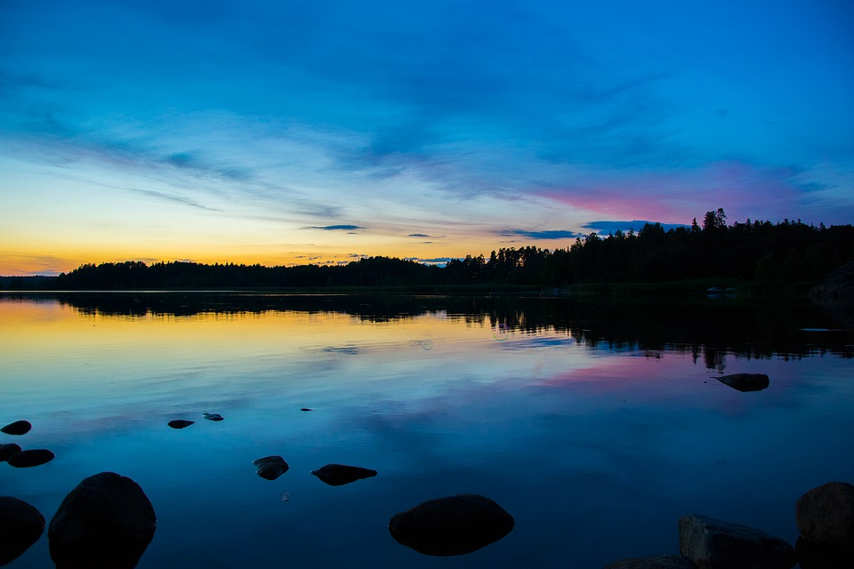 Sunset, Lake, Reflection, Water, Sky, Landscape, Nature