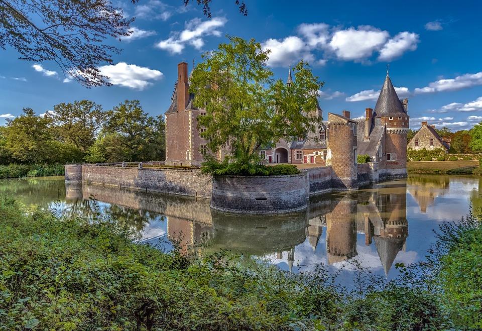 Castle Of The Mill France, Reflection, Landscape