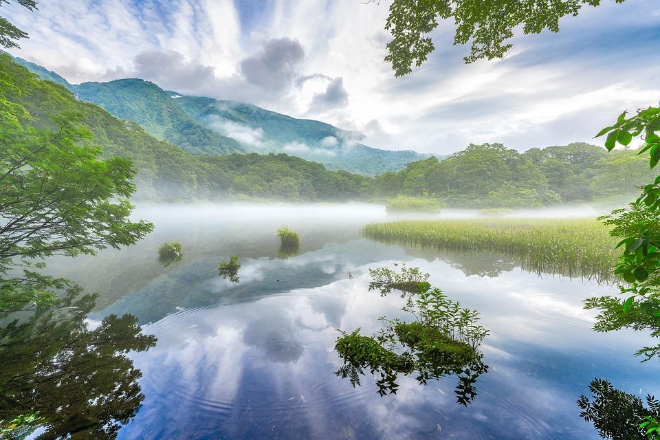 Lake, Mountains, Fog, Reflection, Landscape