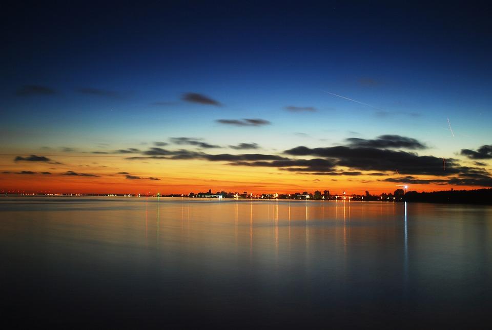 Twilight, The Coast, Reflection, Water, Landscape
