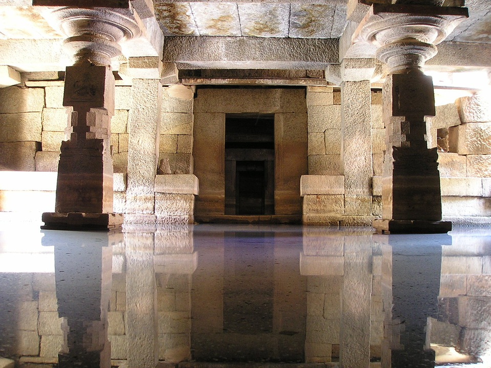India, Temple, Water, Mirroring, Reflection, Flooded