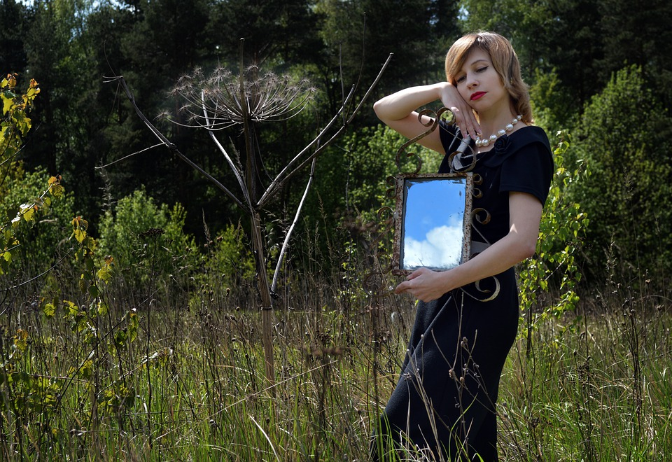 Clouds, Mirror, Reflection, Field, Nature, Retro, Woman