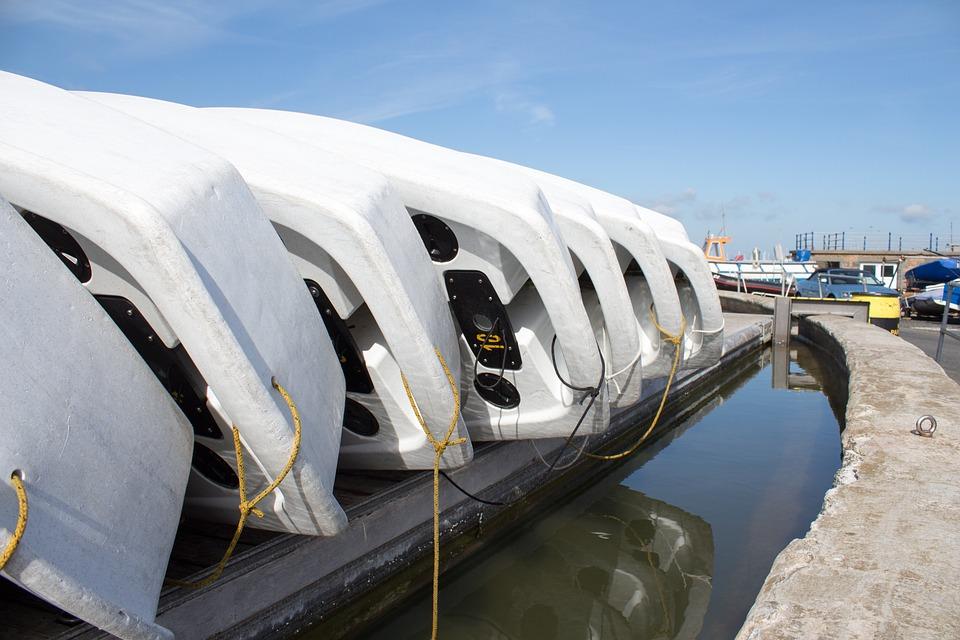 Rowboat, Dinghy, Pontoon, Reflection, Sky, Weathered
