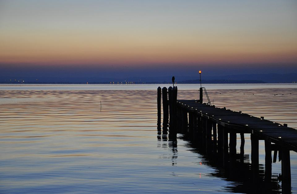 Waters, Sunset, Lake Garda, Jetty, Reflection