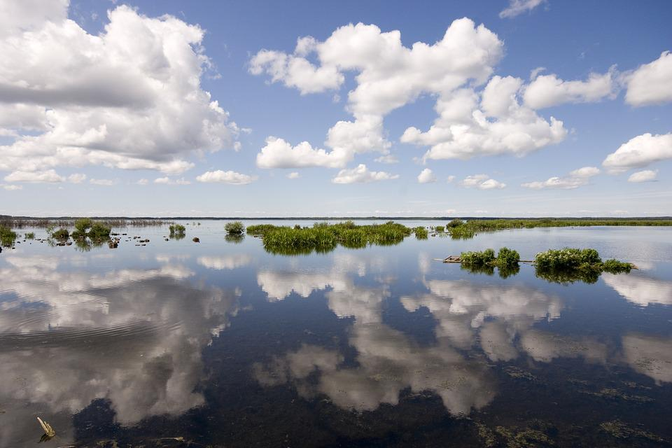 Sweden, Lake, Hornbörgasjön, Clouds, Sky, Reflection