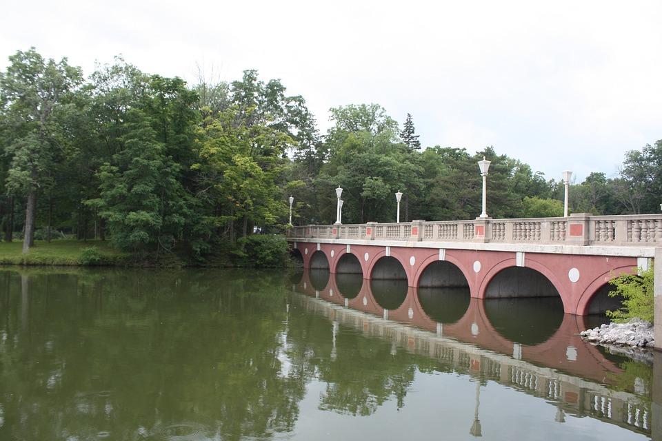 Bridge, Water, Trees, Small River, Reflection, Sky