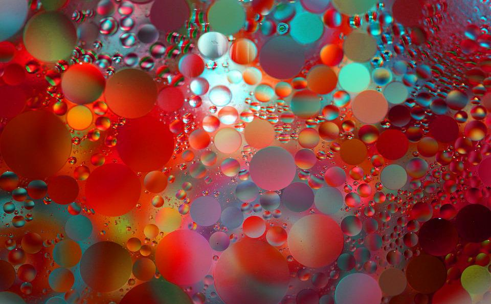 Abstract, Macro, Floating, Oil Drops, Reflections