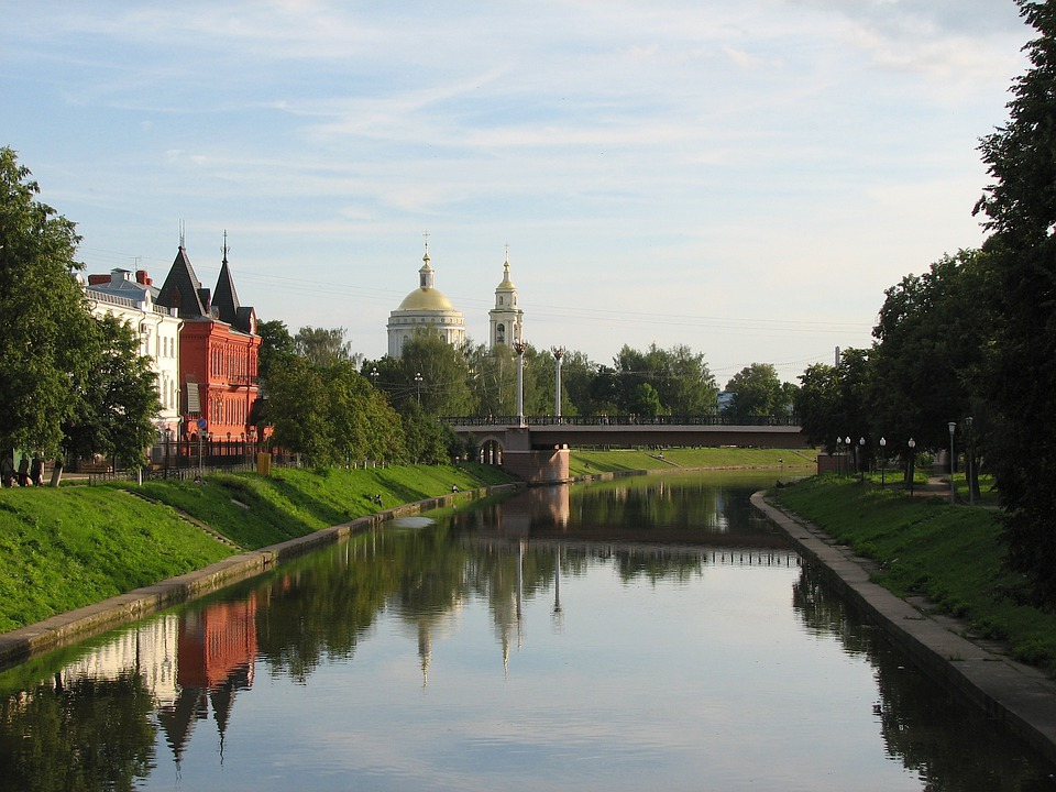 Oryol, Russia, Canal, River, Water, Reflections