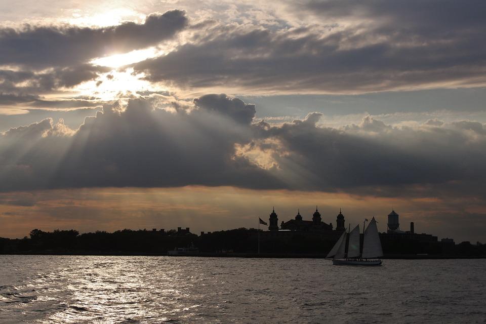 Nyc, Sunset, Sailboat, Reflections