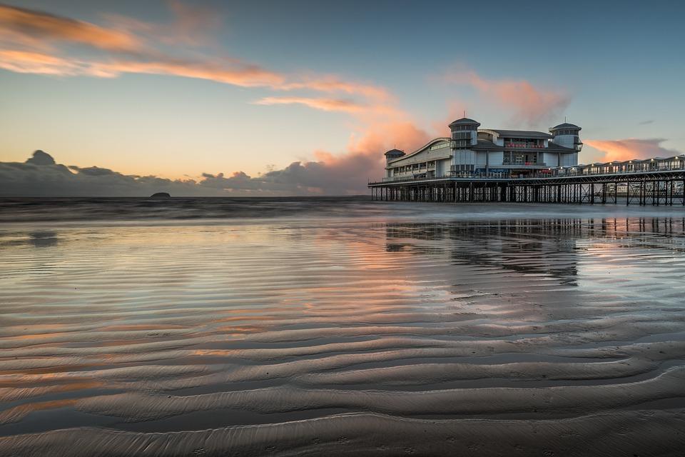 Pier, Sunset, Coast, Weston, Sea, Reflections