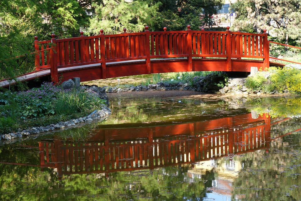 Wooden, Bridge, Arhitecture, Water, Reflexion, Park