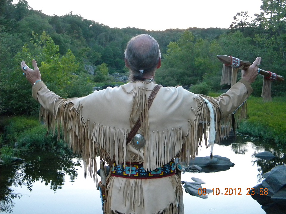 Native American, Courting Flute, Regalia, Scenic