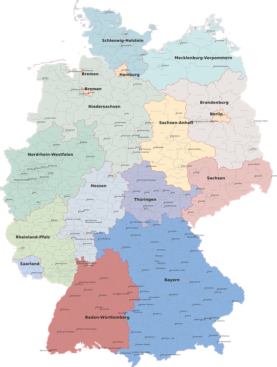 Map, Germany, Regions, District, Geography
