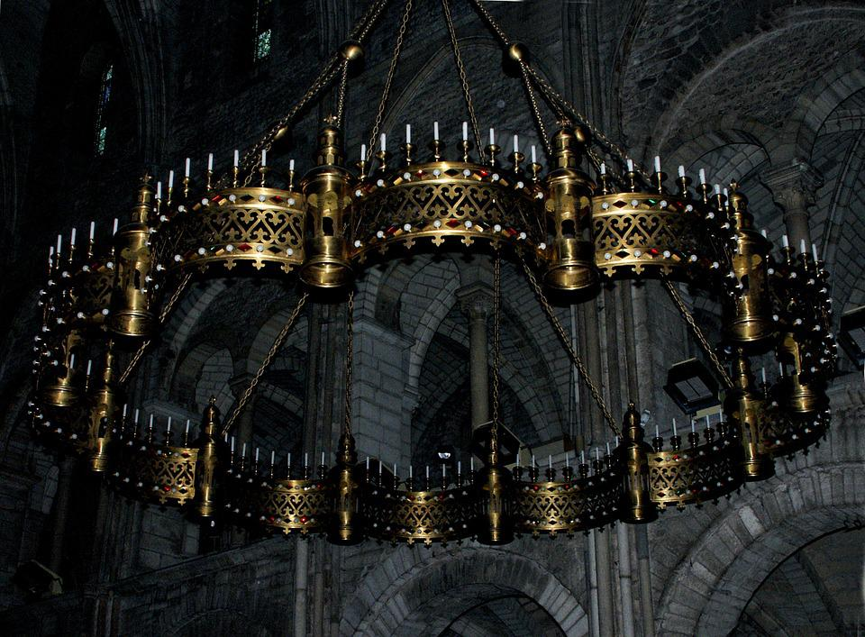 Chandelier, Light, Cathedral, Reims, Church, Floor Lamp