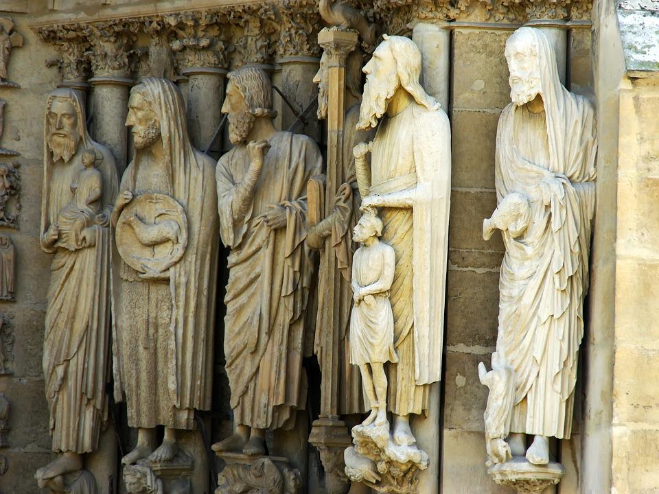 Reims, Cathedral, Statue, Sculptures, Saint, Religion