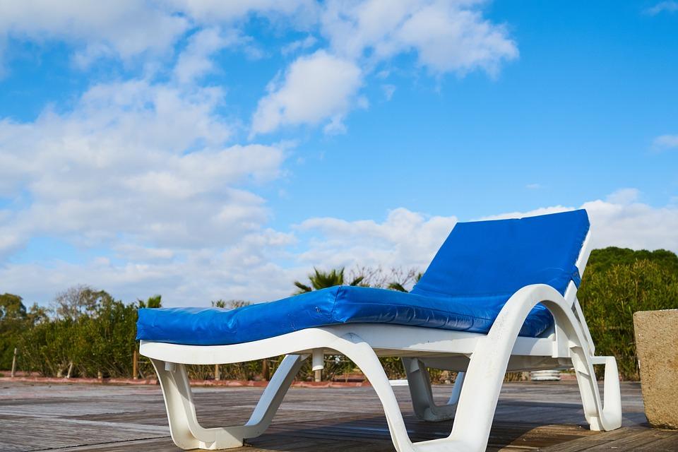 Sunbeds, Holiday, Blue, Air, Sky, Hotel, Relax, Summer