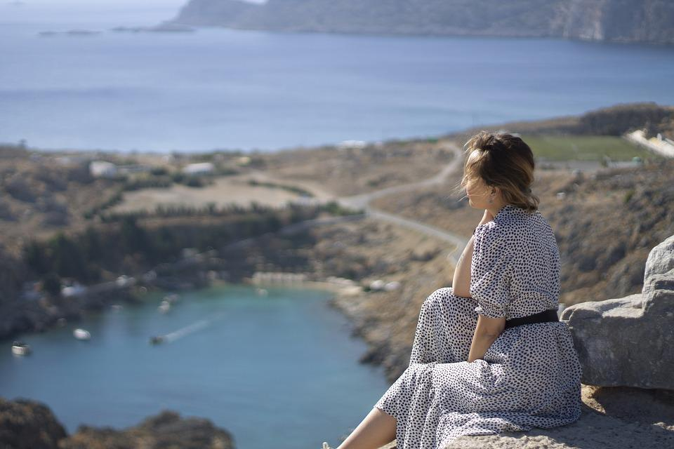 Woman, Sea, Cliff, Rest, Relax, Trip, Travel, Landscape