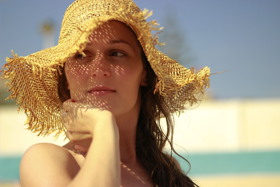 Straw Hat, Summer, Tan, Peaceful, Relax, Portrait