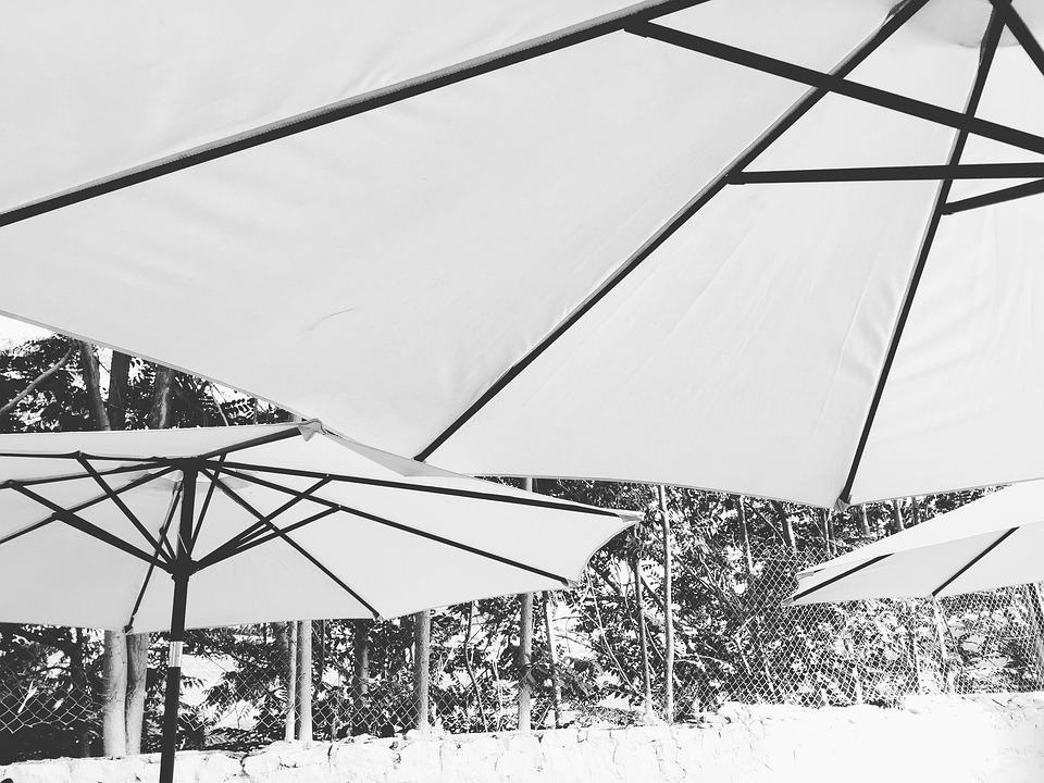Parasol, Umbrella, Sun, Black And White, Outdoor, Relax