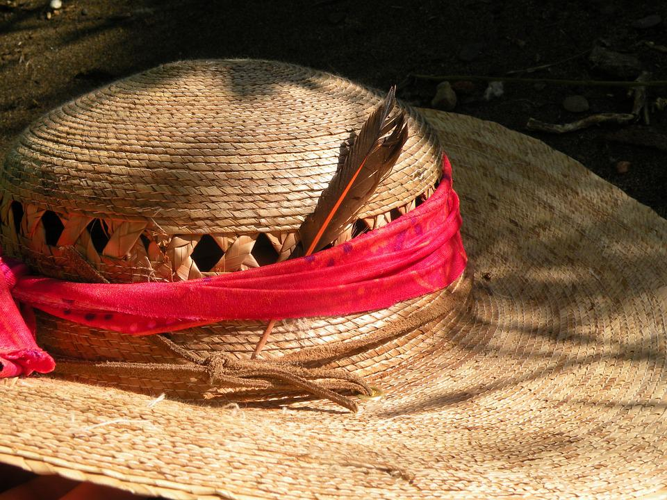 Hat, Feather, Shade, Relax, Beach, Tan, Red