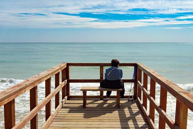 Sea, Senior Citizen, Sky, Water, Outdoors, Relaxation