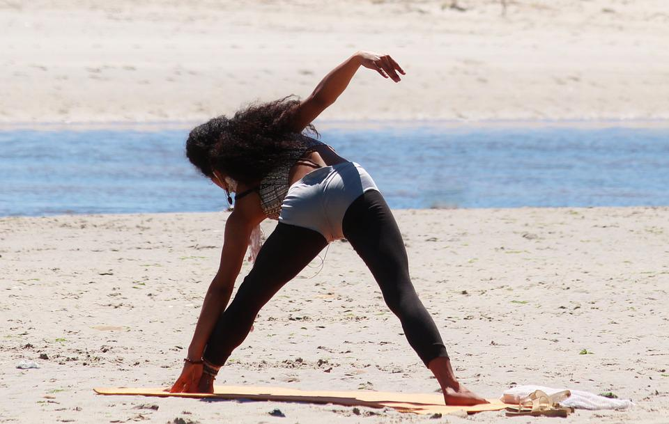 Woman, Yoga, Relaxation, Beach, Sea, Sand, Gymnastics