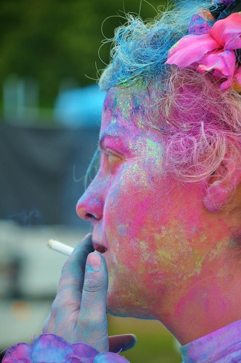 Girl, Colorful, Smoking, Relaxed, Funny, Celebration