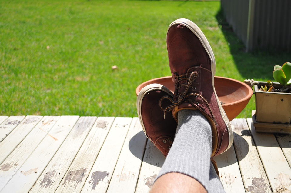 Grass, Shoes, Socks, Plants, Relaxing, Wood, Deck