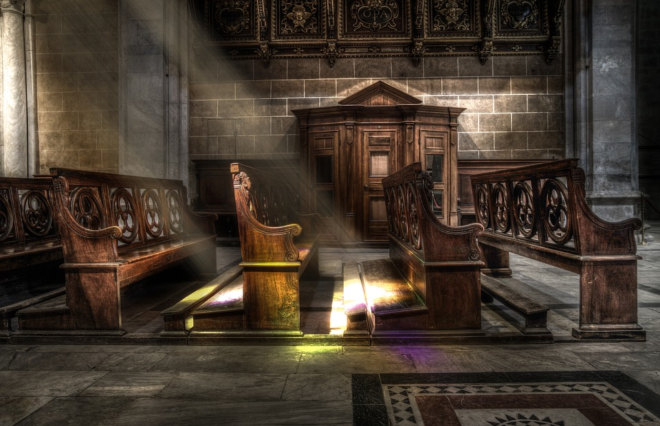 Church, Bench, Wood, Sunbeams, Religion, Christianity