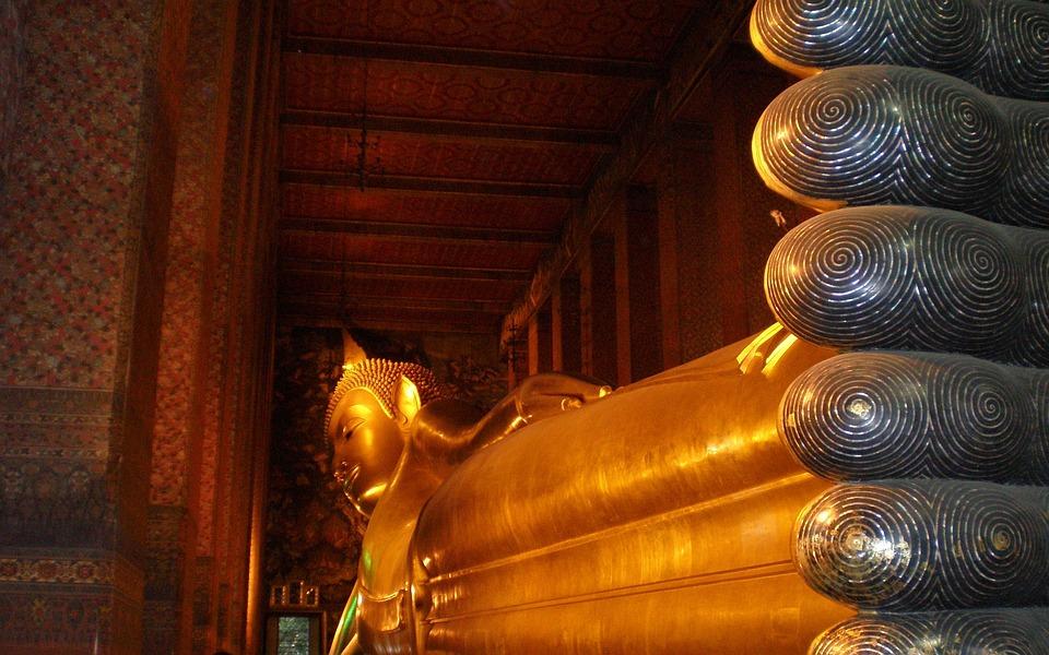 Buddha, Statue, Reclining, Buddah, Gold, Religion