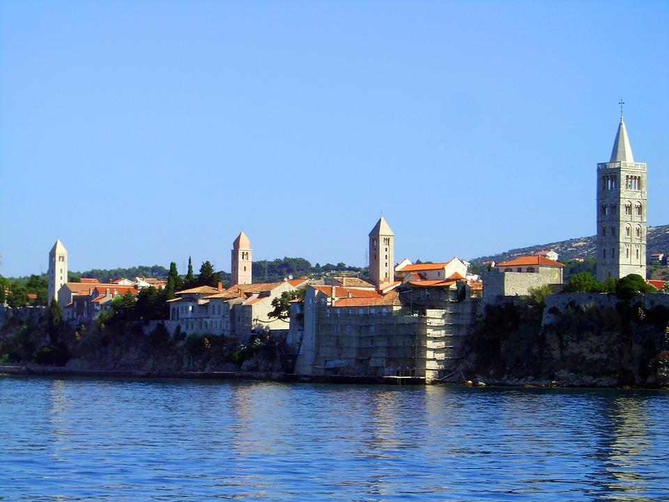 Croatia, Rab, Water, Church Steeples, Religion