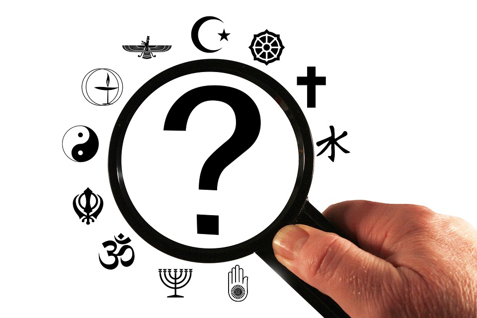 Religion, Question Mark, Analysis, Magnifying Glass
