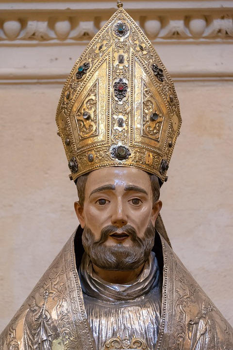 Medieval Statue, Wooden, Bishop, Religion, Christianity
