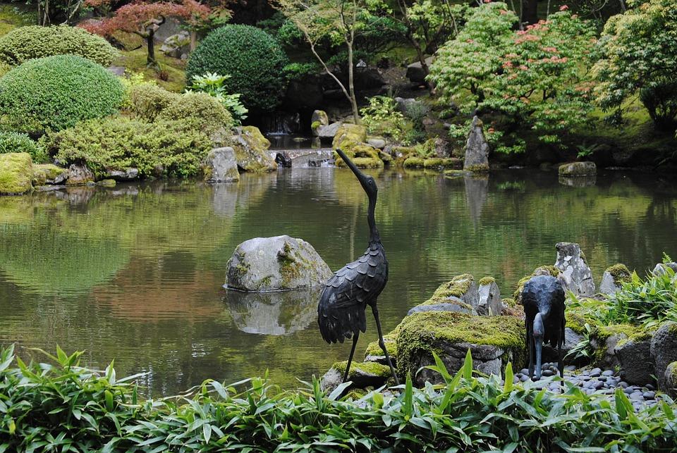 Statues, Japanese Garden, Garden, Japanese, Religion