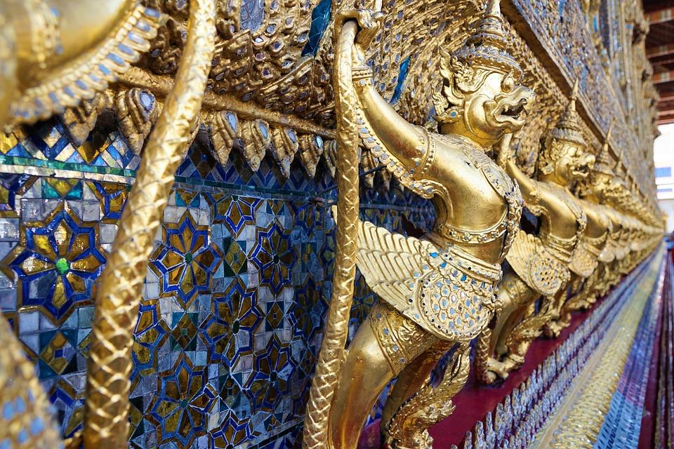 Temple, Religion, Statue, Golden, Buddha, Sculpture