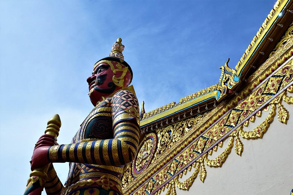 Temple, Religion, Statue, Golden, Travel, Sculpture